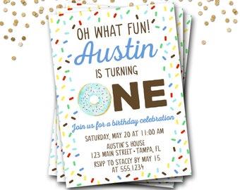 Donut Birthday Invitation, Doughnut Birthday Invitation, Donut Invitation, First Birthday, Boy Donut Invitation, Donut Party, Donut Invite