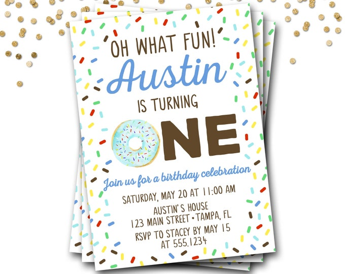 Donut Birthday Invitation, Doughnut Birthday Invitation, Donut Invitation, First Birthday, Boy Donut Invitation, Donut Party, Donut Invite