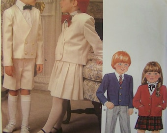 ADORABLE UNcut Vintage 1980s Little VOGUE 1313 Boys & Girls' Jacket, Skirt, Pants, and Shorts pattern sz 6x