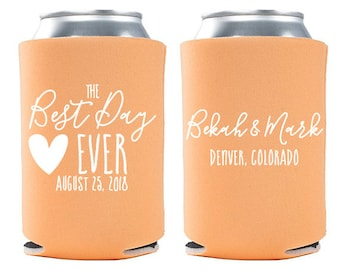 Custom Wedding Favor - The Best Day Ever Can Coolers - Wedding Can Coolers