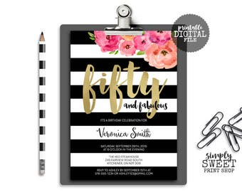 Fifty and Fabulous Birthday Party Invite 50 Fifty Forty Sixty Gold Black White Flowers Pink Coral Striped Elegant Adult Birthday Invitation