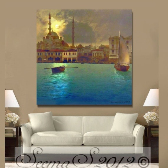 TURKISH-Port of Istanbul, Mosque, Ethnic Wall Art, Middle Eastern, Living room Art,Large, Seema Z