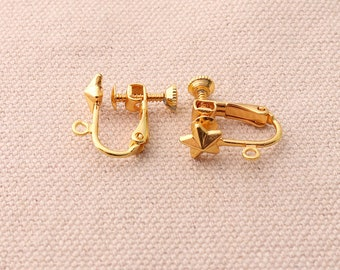12pcs(6 pairs)Gold Earring Converter Adjustable Screw Back Earring Clips Gold Clip Earring Findings Non Pierced Earring