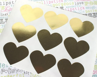 """24 Gold Foil Heart Stickers, Gold Foil Heart Stickers for Wedding Favors, Party Decor and Gift Packaging, Gold Heart Stickers - 1.5"""" x 1.5"""""""