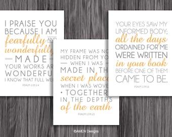Nursery Decor. Psalm 139:14-16. Set of Three. 8x10in  DIY Printable Christian Poster. PDF. Bible Verse.