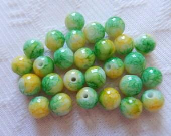 27  Green Yellow & White Splattered Round Ball Glass Beads  8mm