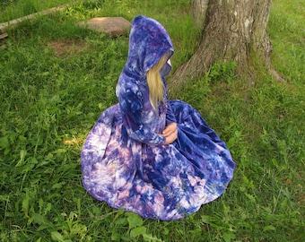 Girls Hooded Dress, Organic Girls Dress, Organic Hooded Dress, Bamboo Velour Dress, Tie Dyed Dress, MADE TO ORDER you choose colors