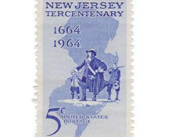 10 Unused Vintage Postage Stamp - 1964 5c New Jersey - No. 1247