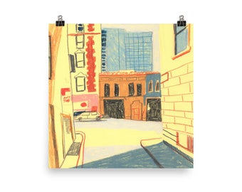 "San Francisco Union Square Art Illustration Print 10"" x 10"""