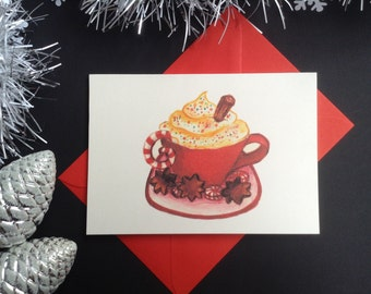 Set of 6 Hot Chocolate Mini Christmas cards.Hand made Greeting cards. Hand drawn illustrations. Chocolate Card. Hot Chocolate illustration.