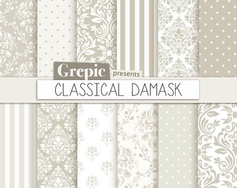 """Damask digital paper: """"CLASSICAL DAMASK"""" digital paper pack with damask and classical vintage elements in grey and cream / beige patterns"""