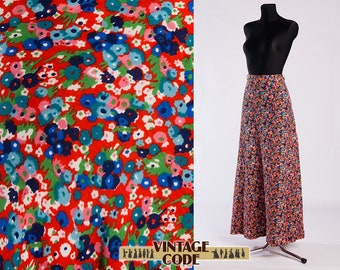 Red blue Tiny Floral print vintage full skirt / High waist Hippie Boho sheer Maxi skirt / size XS to Small