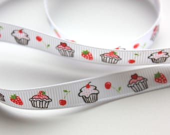 """3/8"""" Grosgrain Ribbon with Cupcakes - White - 5 yards"""