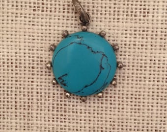 Large Round Turquoise Howlite Pendant Set in Pewter