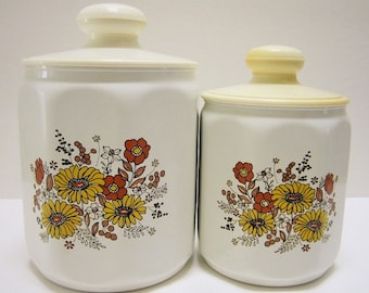Kromex Canisters Aluminum Canisters Cans Vintage Kitchen Canisters Retro Kitchen Decor Kitchen Canister Set of 2 Plastic Lids Yellow Flowers
