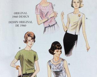 1950s Misses' Jewel or Scoop Neck Princess Seam Top Pattern 1960 Design UNCUT Vogue V9187 Size 6 8 10 12 14 16 18 20 22 Reproduction