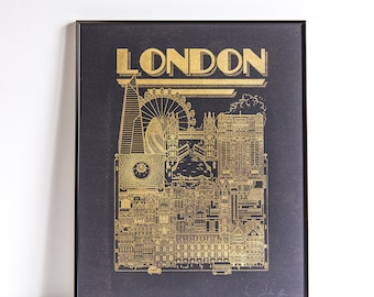 London Gold & Black limited edition / 50 x 40 / Illustration / travel / poster / city / wall decor / Map / Design