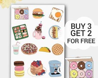 Vanilla Donut Stickers, Apple Pie Sticker, Pancake Sticker, Macaron Sticker, Milkshake Sticker, Taco Sticker, Burger Sticker, Toast Sticker