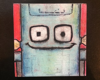"Robot Class Photo #1: Gary (Pastel/Ink on 5""x5"" canvas panel)"