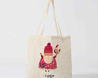 X230Y Tote bag Santa Claus, Christmas, bag canvas, cotton bag, diaper bag, purse, tote bag, shopping bag, computer bag