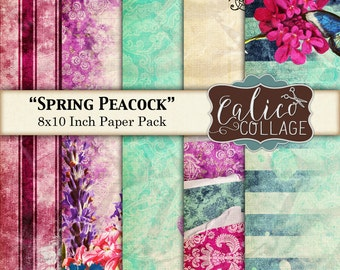 Digital, Printable, Paper Pack, Spring Peacock, Junk Journal, Smash Book, 8x10 Paper, Decoupage Paper, Instant Download, Peacock Feathers