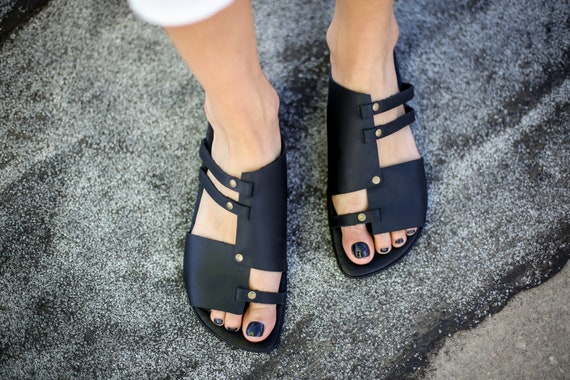 Black Sandals On Sandals Leather Sandals Handmade Slide Black Sandals Strappy Sandals SALE Slip Shoes Ju Sandals Summer Summer Flats tqvn0ax