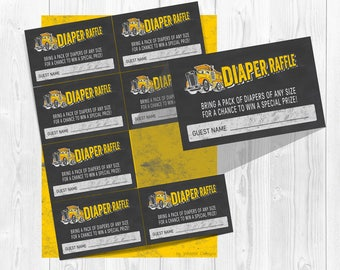 Construction Diaper Raffle Tickets, Construction baby Shower, Diaper raffle tickets, Baby Shower games, Printable shower games