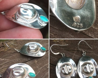 Sterling silver and turquoise cowboy hat earrings