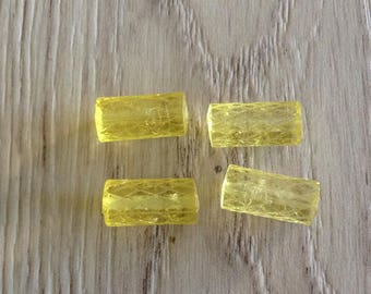 Acrylic beads form transparent yellow Tube 4 x