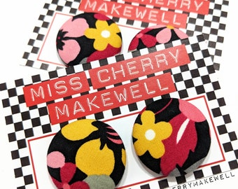 Mustard and Pink Retro Floral Fabric Button Rockabilly 1950's Pin Up Punk Vintage Inspired Stud or Clip On Earrings By Miss Cherry Makewell