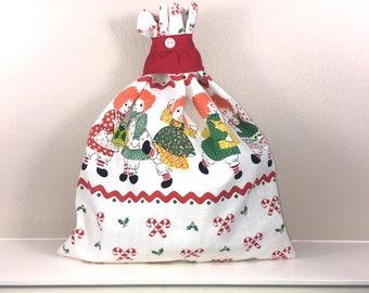 Rag Doll Print Christmas Gift bag, Cloth Bag, Special Gift Bag, Gift For Girls, Farmhouse Style, Christmas Decor, Fabric Gift Bag, 11 x 14