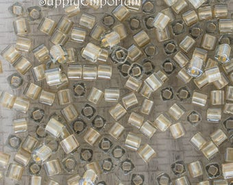 3mm Gold Lined Crystal Toho Cube Beads, 15 Grams, Toho 3-989 Gold Lined Crystal Cube Bead, 3mm Gold Lined Crystal Cube Beads, 5229