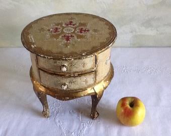 Vintage Florentine jewelry box. Round jewelry box with legs. Wooden, gilded box. Keepsake box. Trinket box. Florentine box with drawers.