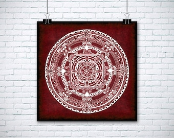 "Folk Mandala Colorful Drawing - 12x12"" (30x30 cm) Art Print on Acid-Free Paper, Wall Decor, Illustration, Poster"