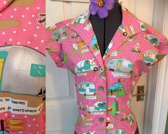 Rocking Vintage pattern blouse, classic campers for Retro style.