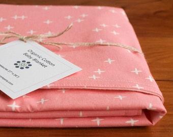 SALE, Pink Star Organic Cotton Baby Blanket; Modern Receiving Blanket; Handmade Baby Shower Gift Newborn Girl; Pink Crib Blanket; AS IS