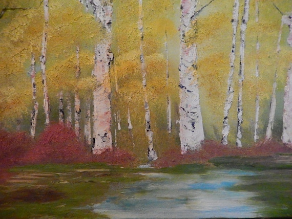 landscape painting, birch trees, oil painting
