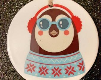 Hipster penguin ceramic Christmas ornament