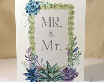 Mr and Mr Succulents Wedding Congratulations Card - LGBT Nature, Botanical, Succulent Plants, Country Wedding- Digital Download or Print