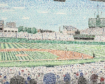 Chicago Cubs Wrigley Field Word Art Print - Chicago Cubs Wall Art - 16x20 - Chicago Cubs Poster - Man Cave Decor - FREE SHIPPING - Unique