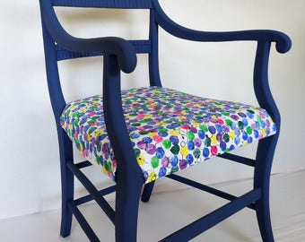 Vintage Retro Chalk Painted Blue Armchair Handprinted Fabric Reupholstered