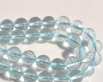 Aqua Quartz 8mm Faceted Round Glass Beads   10