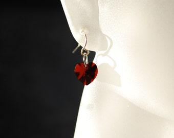 Heart Earrings -- Dark Red Swarovski Crystals, Silver