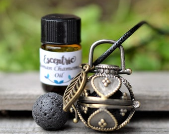 Lava Stone Essential Oil Cage Diffuser Necklace-Aromatherapy-2ML Essential Oil