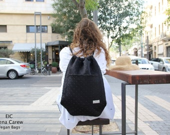 Drawstring backpack with pockets, Black Drawstring backpack, Dance Backpack, Lightweight backpack, Drawstring backpacks