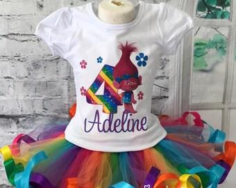 poppy birthday outfit, trolls birthday outfit, poppy birthday shirt, poppy tutu, trolls birthday tutu, trolls birthday shirt, trolls party