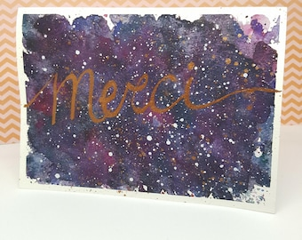 Thank you card, watercolor, thanks, Galaxy