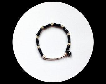 Chunky silver and black glass beads Stretch Bracelet