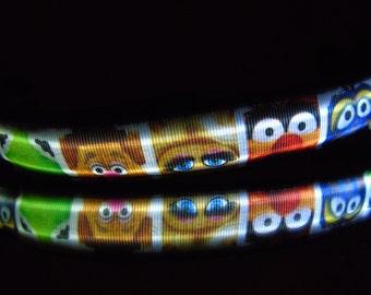 Pig collar or leash w/ LED light glows in dark w/ Ms Piggy, chevron pink pigs, Peppa pig, Pooh piglet, 3 little pigs & big bad wolf