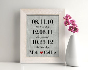 First Day, Yes Day, Best Day  4th Wedding anniversary gift, 4 Years Together Linen print, fourth gift for  men, wife, date print